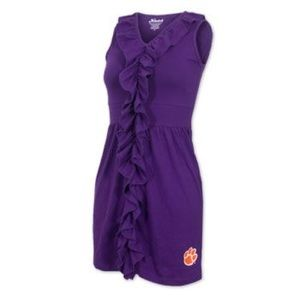 Klutch Clemson ruffle dress in purple with paw
